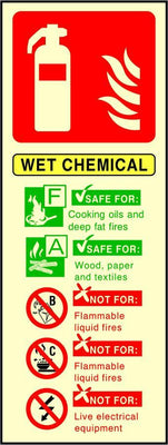 Photoluminescent Wet Chemical Fire Extinguisher sign