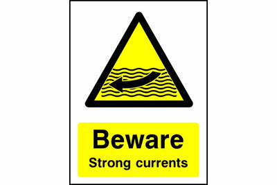 Beware strong currents sign