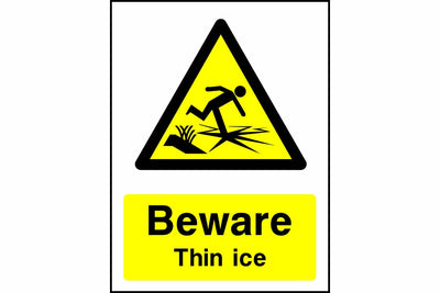 Beware Thin ice sign