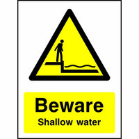 Beware Shallow water safety sign