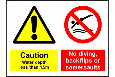 Caution water depth less than No diving safety sign