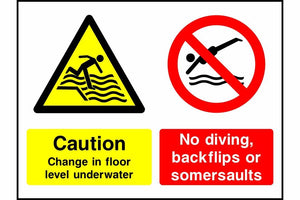 Caution Change in floor level underwater No diving safety sign