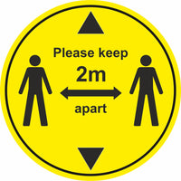 Yellow keep 2m apart with arrows floor sign