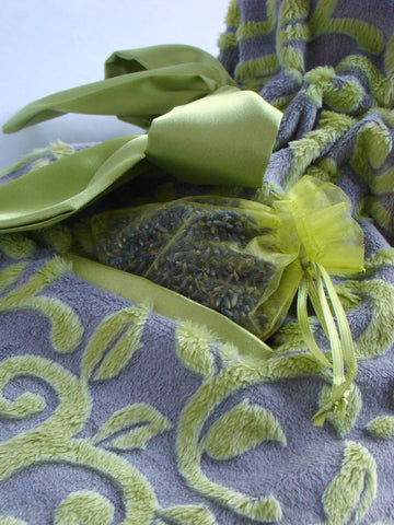 Deluxe Hot Water Bottle with 'Vines' Aromatherapy Plush Cover - Chartreuse