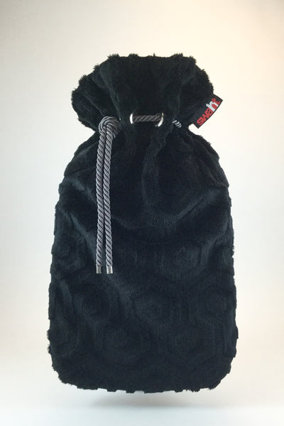 Black Geo Plush Cover with Deluxe 2.0L Hot Water Bottle