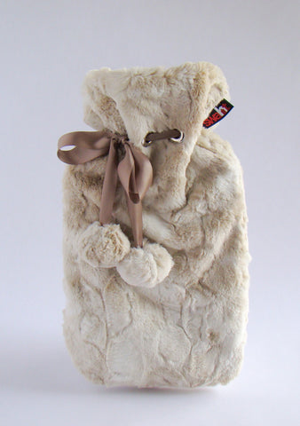 Cream Rabbit Cuddly Faux Fur Cover with Deluxe 2.0L Hot Water Bottle