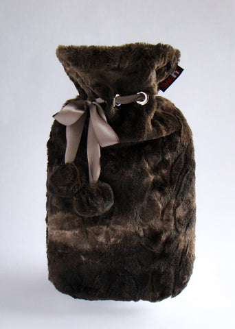 Chocolate Rabbit Cuddly Faux Fur Cover with Deluxe 2.0L Hot Water Bottle