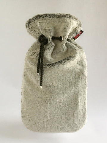 Frosted Natural Seal Luxe Faux Fur Cover with Deluxe 2.0L Hot Water Bottle