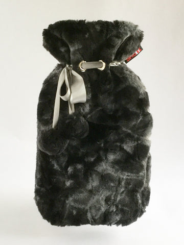Charcoal Rabbit Cuddly Faux Fur Cover with Deluxe 2.0L Hot Water Bottle