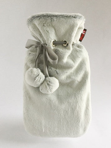 Luxurious Frosted Silver Seal Faux Fur Cover with Deluxe Hot Water Bottle