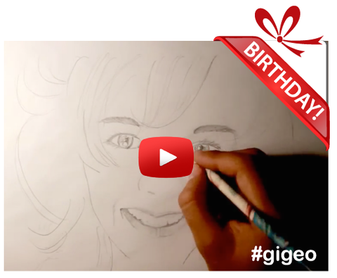 Gigeo® - Personalized Gift Ideas For Her ~ SPEED DRAW PORTRAIT <br> Personalized Written Message - WhoLovesYou.ME - 1