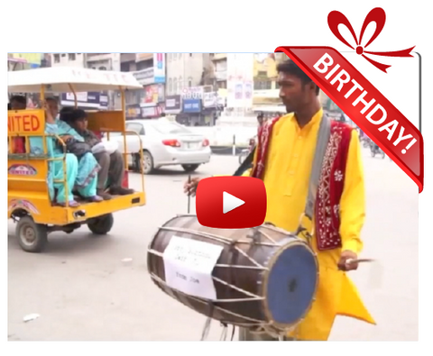 Gigeo® Desi Drummer from Pakistan Personalized Birthday Greetings