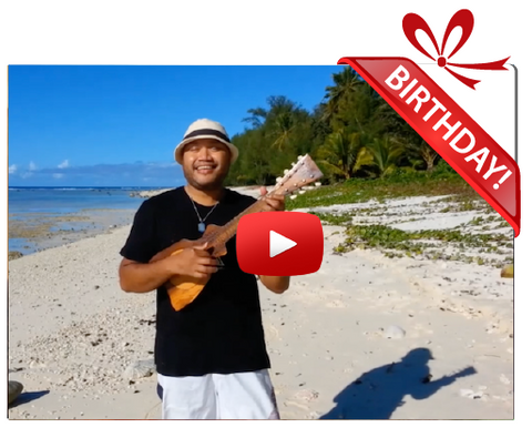 Gigeo® Island Ukulele Personalized Birthday Greetings by Mou