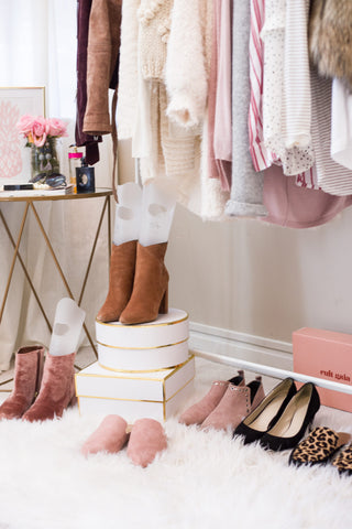 closet organizing with Voot boot shaper