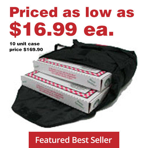 "AB216 - Case of 10 Bags - Economical Pizza Bag - Carries two 16"" or three 14"" (17""L x 16½""W x 6""H)"