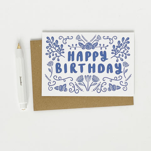 Happy Birthday Folk Blue - Lomnd Paper Co.