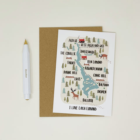 Loch Lomond Map Card - Lomond Paper Co.
