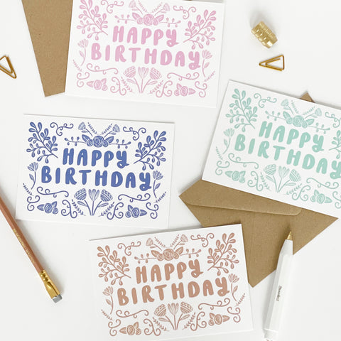 Happy Birthday Folk Card Set of 8