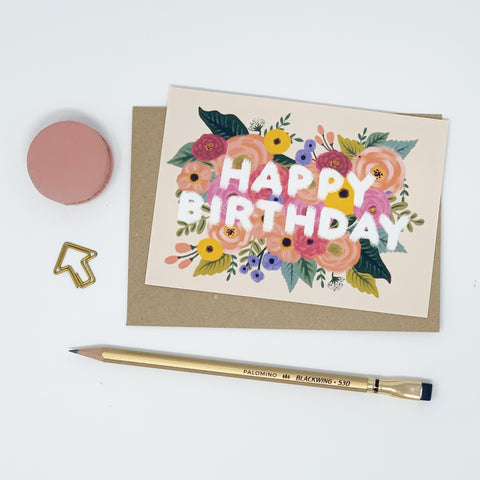 Happy Birthday - Colourful, Vintage, Floral - Lomond Paper Co.