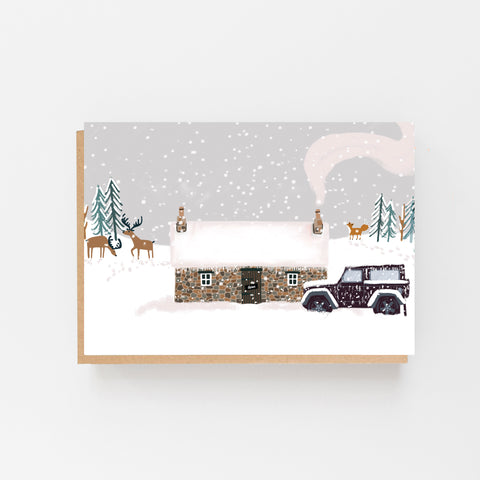 Bothy in the Snow - blank card