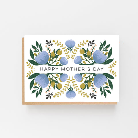 Mother's Day Card - Blue Floral Design