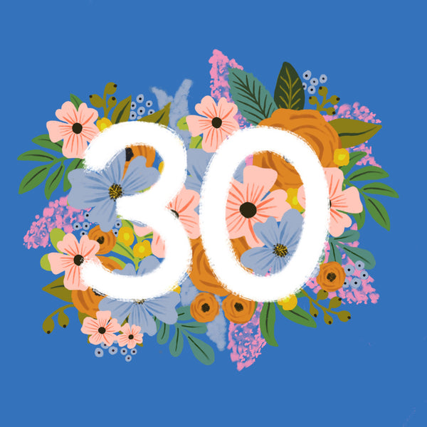 Colourful, Floral 30th Birthday Card - Blue