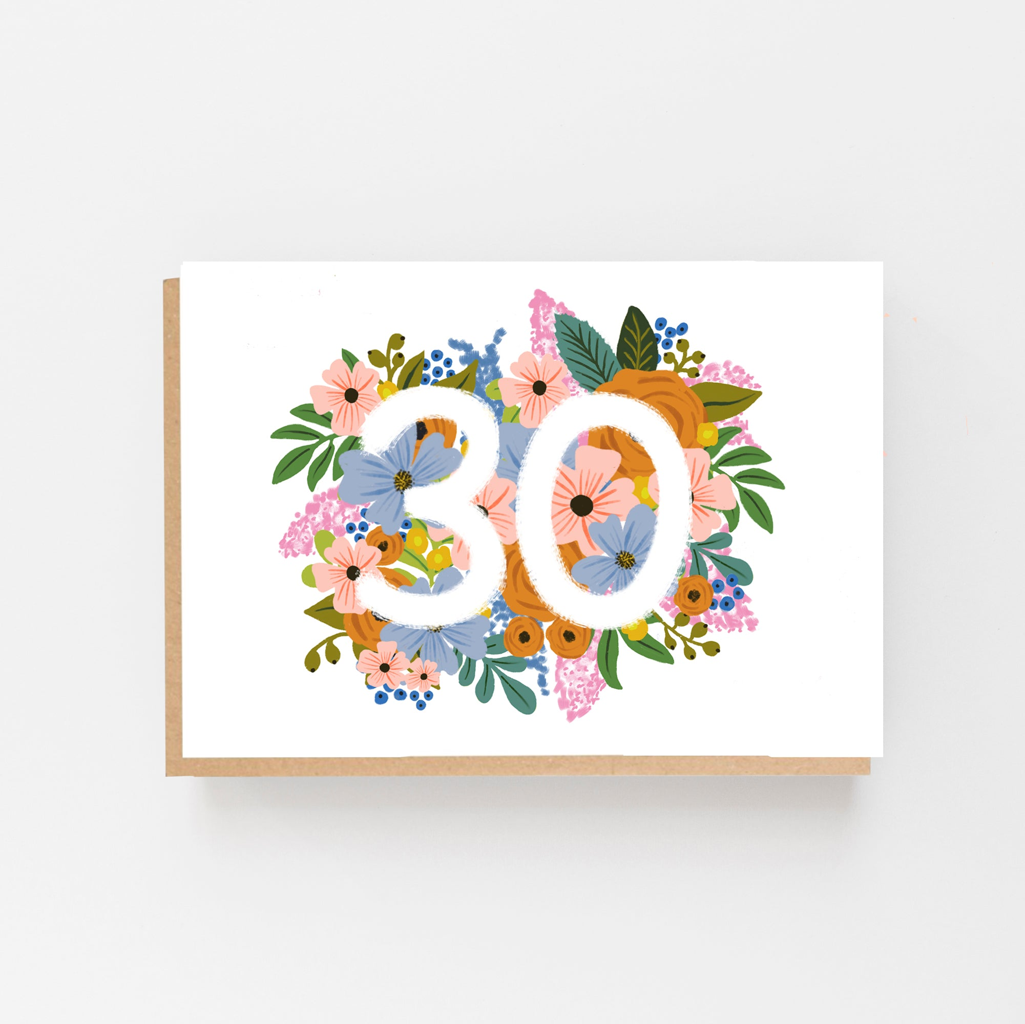 Colourful, Floral 30th Birthday Card