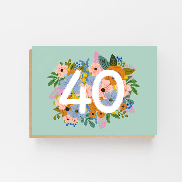 Colourful, Floral 40th Birthday Card