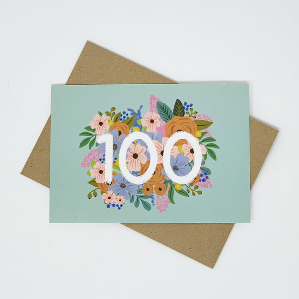Colourful, Floral 100th Birthday Card
