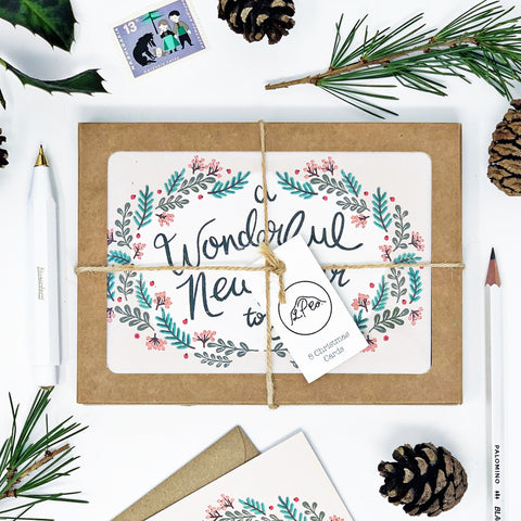A Wonderful Christmas & New Year - Pack of 8 Cards