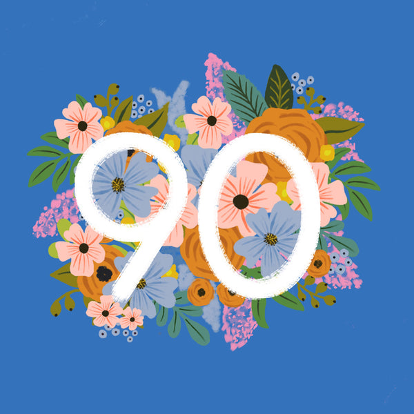 Colourful, Floral 90th Birthday Card
