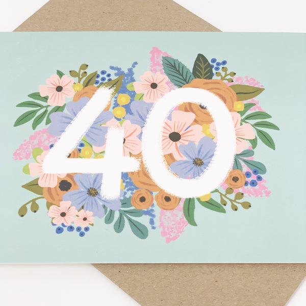 Colourful, Floral 50th Birthday Card