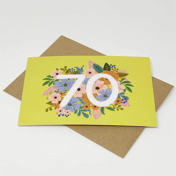 Colourful, Floral 70th Birthday Card