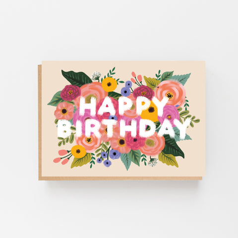 Happy Birthday - Colourful, Floral, Vintage