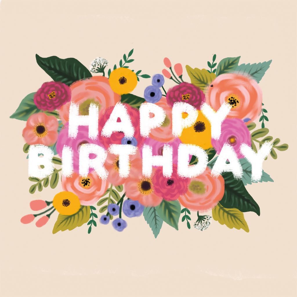 Happy Birthday Colourful Floral Vintage Lomond Paper Co
