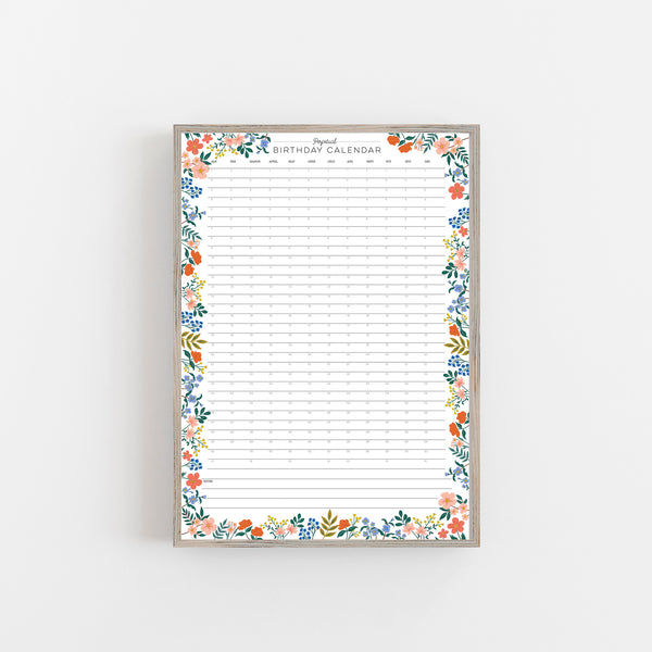 Colourful Floral Perpetual Birthday Wall Planner A2
