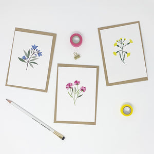 Pack of 6 Illustrated Flower Cards