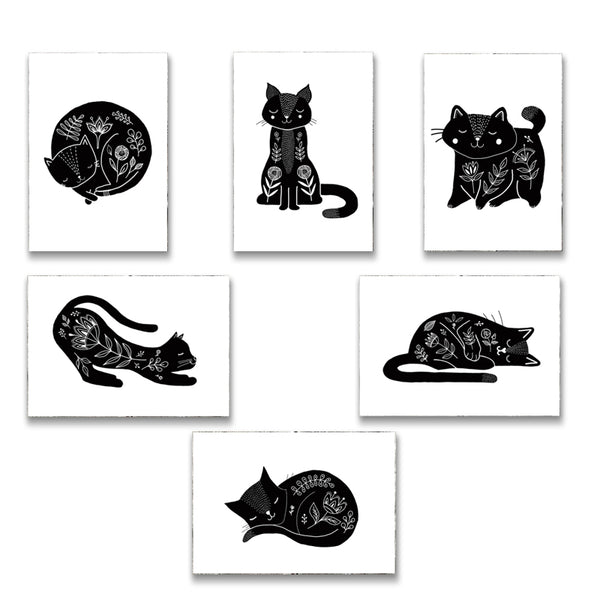 Cat Postcards - Set of 6 ink drawings