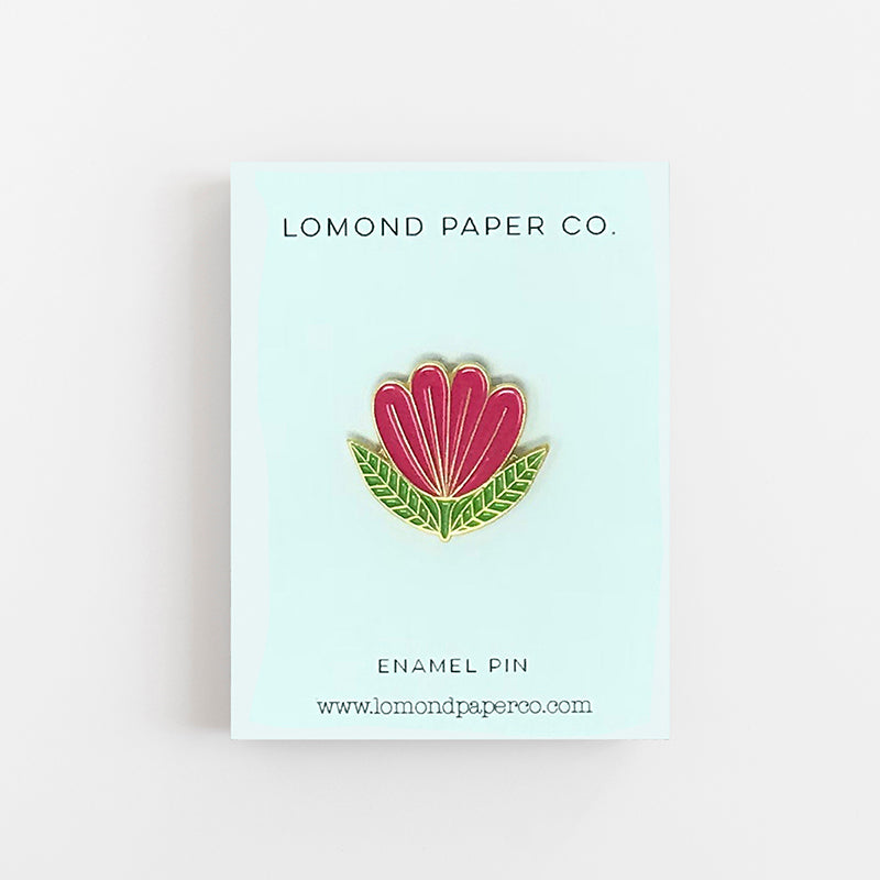 Folk Flower Enamel Pin - Lomond Paper Co.
