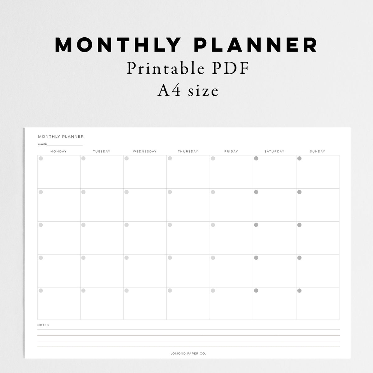 a4 monthly planner