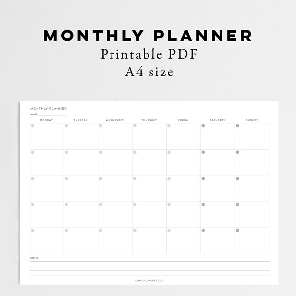 Monthly Planner - Instant Download