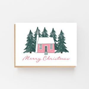 "Scandinavian Pink House ""Merry Christmas"""