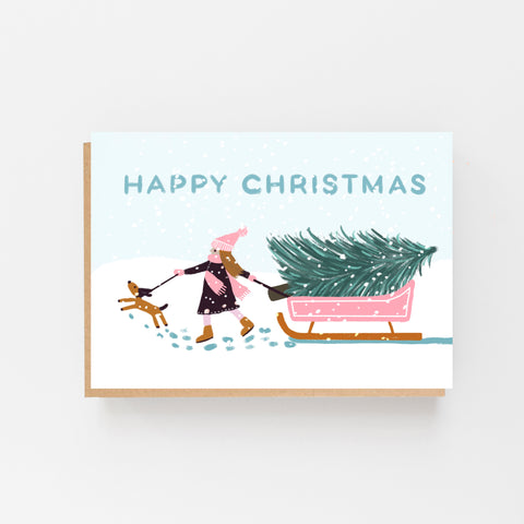 Girl with Pink Sledge - Happy Christmas