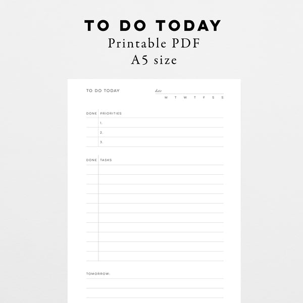 To Do Today - Instant Download