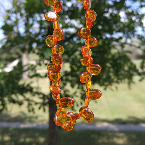Adult Polished Baltic Amber Necklace ~ Cider - Baltic Amber Necklace