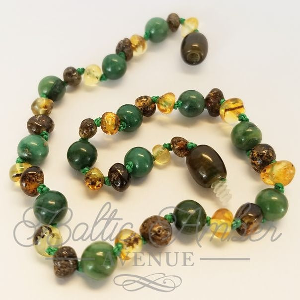African Jade & Baltic Amber - Baltic Amber Necklace