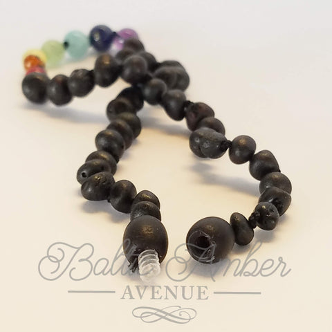Baltic Amber and Gemstones - Dark Rainbow - Baltic Amber Necklace
