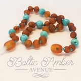 Children's Genuine Turquoise and Baltic Amber Necklace - Parker - Baltic Amber Necklace
