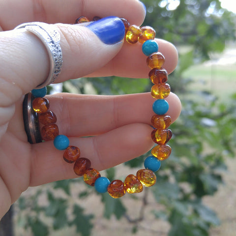 Turquoise & Baltic Amber Bracelet - Baltic Amber Necklace