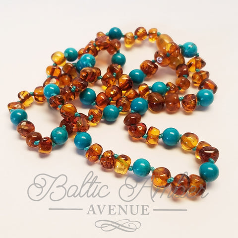 Adult Round Turquoise & Baltic Amber - Baltic Amber Necklace
